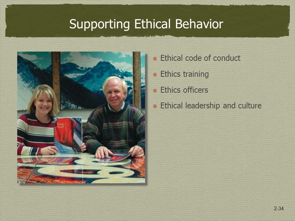 2-34 Supporting Ethical Behavior Ethical code of conduct Ethics training Ethics officers Ethical leadership and culture