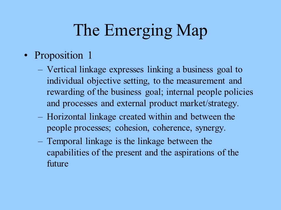 The Emerging Map Proposition 1 –Vertical linkage expresses linking a business goal to individual objective setting, to the measurement and rewarding of the business goal; internal people policies and processes and external product market/strategy.