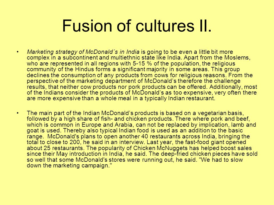 Fusion of cultures II.