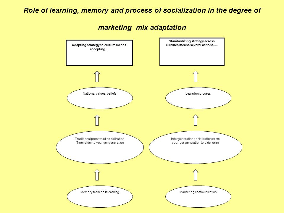 Role of learning, memory and process of socialization in the degree of marketing mix adaptation Adapting strategy to culture means accepting...
