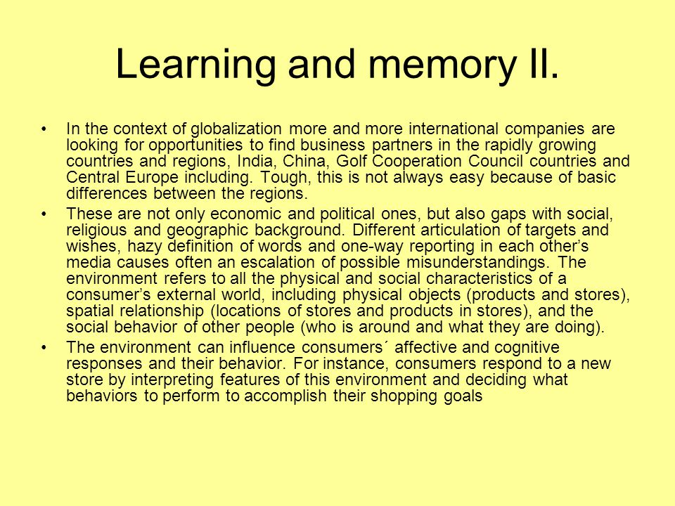 Learning and memory II.