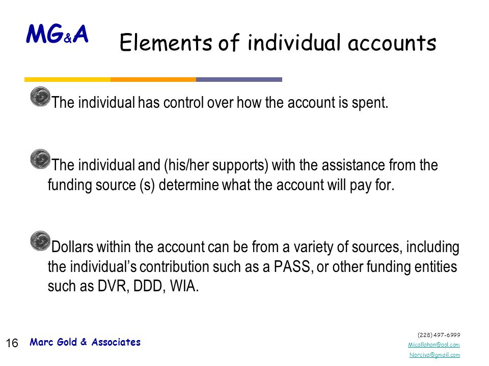 (228) 497-6999 Micallahan@aol.com Norciva@gmail.com MG & A 15 What are the basic elements of an individual account.
