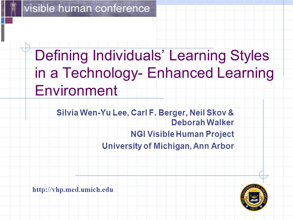Defining Individuals' Learning Styles in a Technology- Enhanced Learning Environment http://vhp.med.umich.edu Silvia Wen-Yu Lee, Carl F.