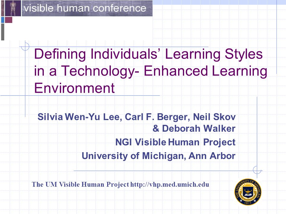 Defining Individuals' Learning Styles in a Technology- Enhanced Learning Environment Silvia Wen-Yu Lee, Carl F. Berger, Neil Skov & Deborah Walker NGI