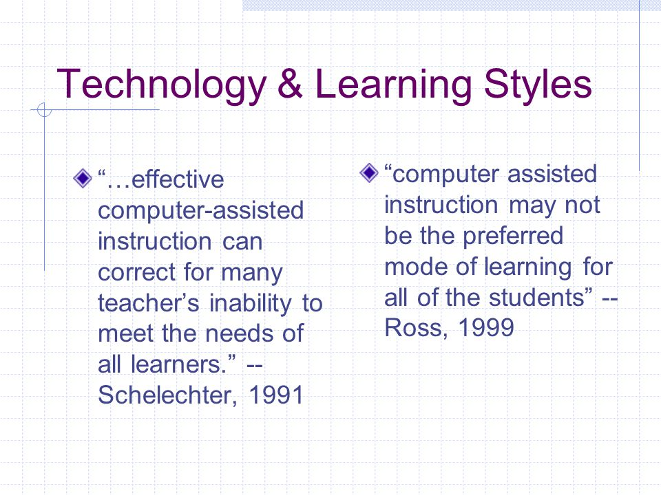 "Technology & Learning Styles ""…effective computer-assisted instruction can correct for many teacher's inability to meet the needs of all learners."" --"