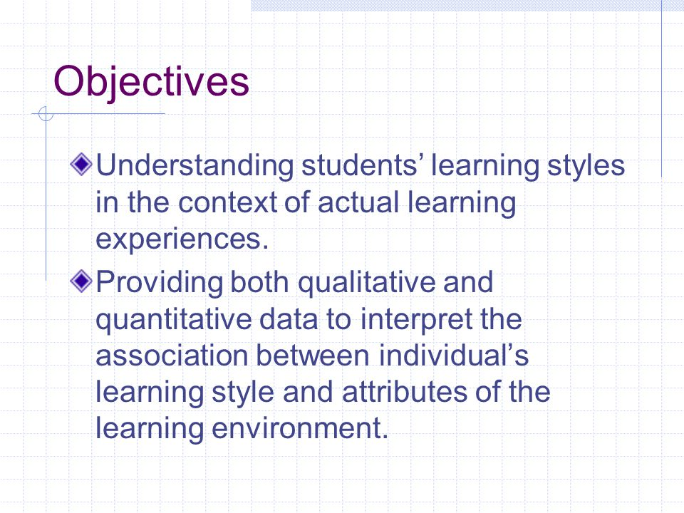 Objectives Understanding students' learning styles in the context of actual learning experiences.