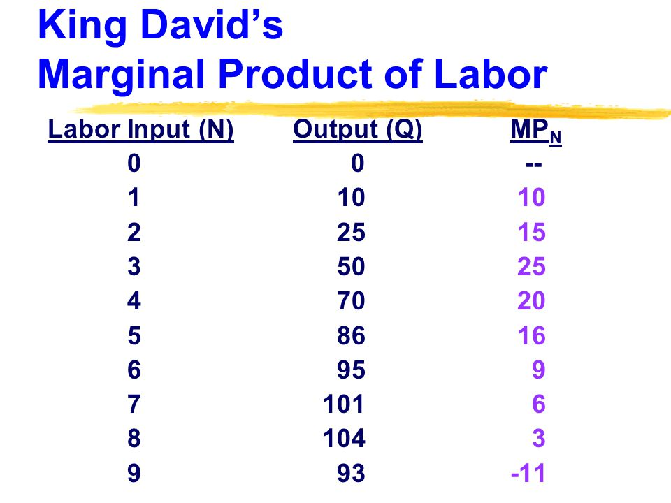 King David's Marginal Product of Labor Labor Input (N) Output (Q) MP N 0 0 -- 1 10 10 2 25 15 3 50 25 4 70 20 5 86 16 6 95 9 7 101 6 8 104 3 9 93 -11