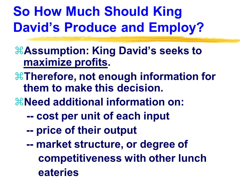 So How Much Should King David's Produce and Employ.
