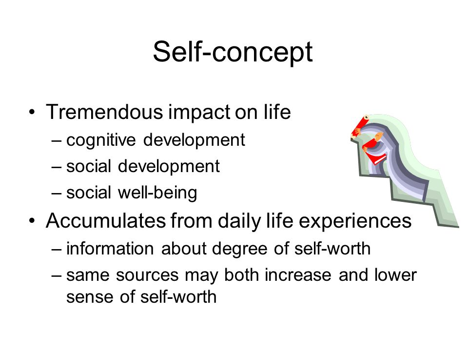 Self-concept Tremendous impact on life –cognitive development –social development –social well-being Accumulates from daily life experiences –information about degree of self-worth –same sources may both increase and lower sense of self-worth