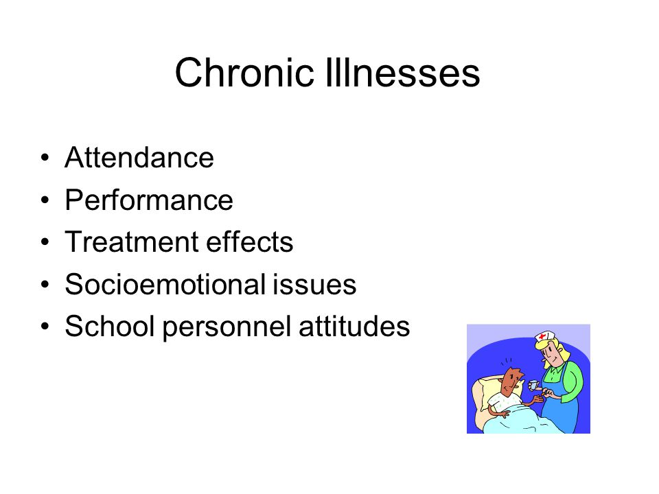 Chronic Illnesses Attendance Performance Treatment effects Socioemotional issues School personnel attitudes