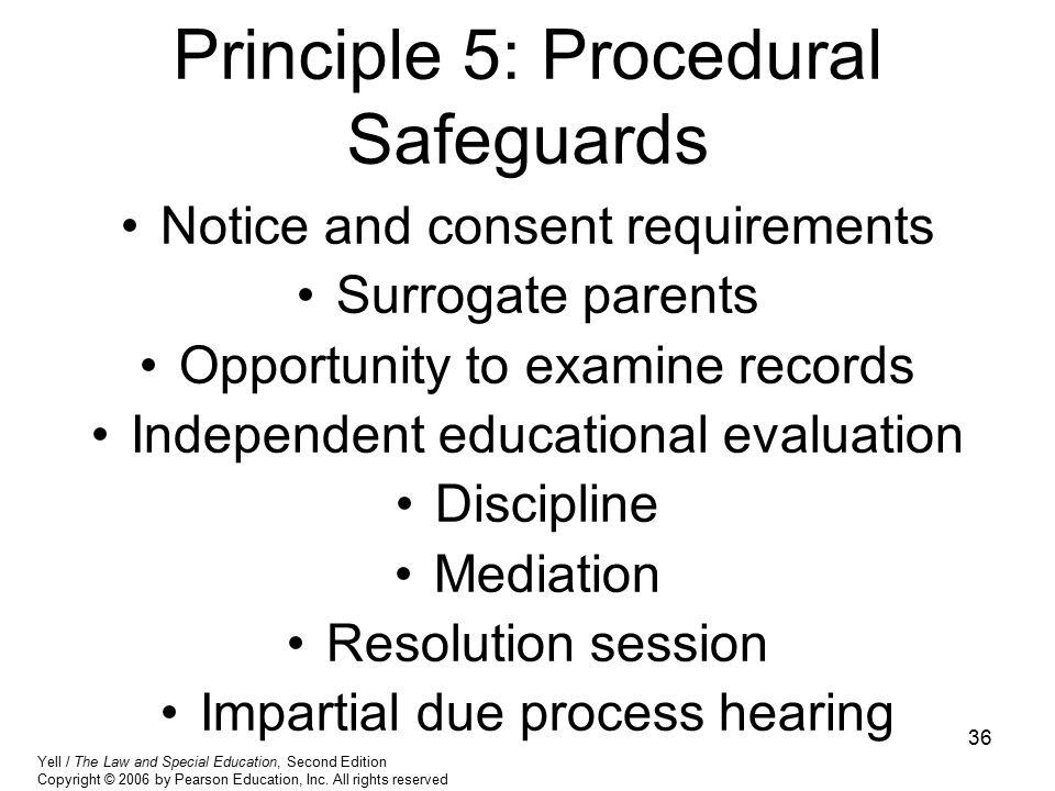 36 Principle 5: Procedural Safeguards Notice and consent requirements Surrogate parents Opportunity to examine records Independent educational evaluat
