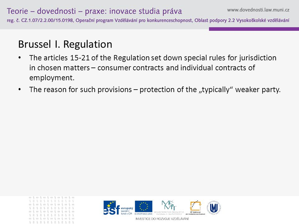 Jurisdiction over consumer contracts Answers: Article 5(3) – exluded – non-contactual obligations.
