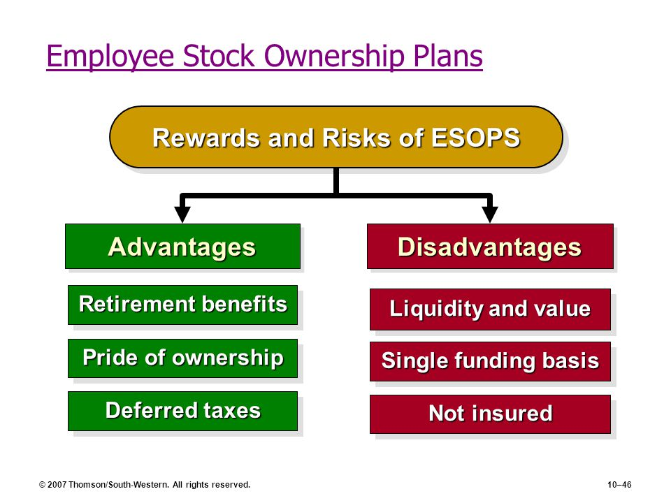 © 2007 Thomson/South-Western. All rights reserved.10–46 Employee Stock Ownership Plans Rewards and Risks of ESOPS AdvantagesAdvantagesDisadvantagesDis