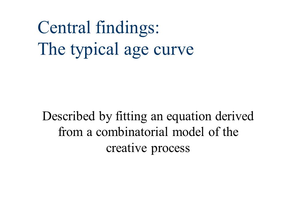 Central findings: The typical age curve Described by fitting an equation derived from a combinatorial model of the creative process