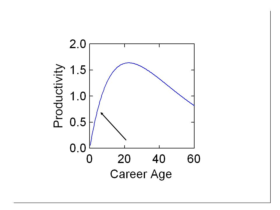 Complicating considerations n Individual differences –Creative potential –Age at career onset (i.e., chronological age at t = 0 in model)