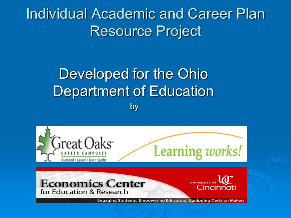Individual Academic and Career Plan Resource Project Developed for the Ohio Department of Education by by