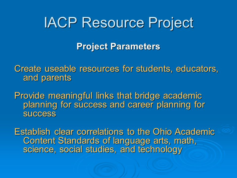 IACP Resource Project Project Parameters Create useable resources for students, educators, and parents Provide meaningful links that bridge academic p