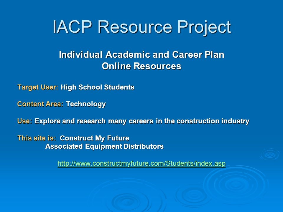 IACP Resource Project Individual Academic and Career Plan Online Resources Target User: High School Students Content Area: Technology Use: Explore and