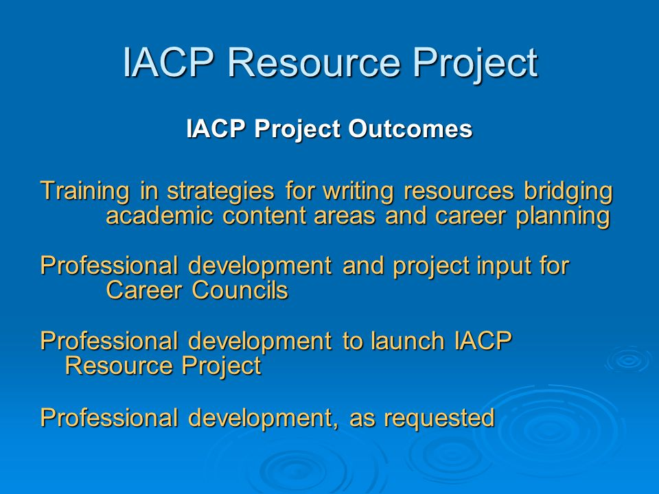 IACP Resource Project IACP Project Outcomes Training in strategies for writing resources bridging academic content areas and career planning Professio