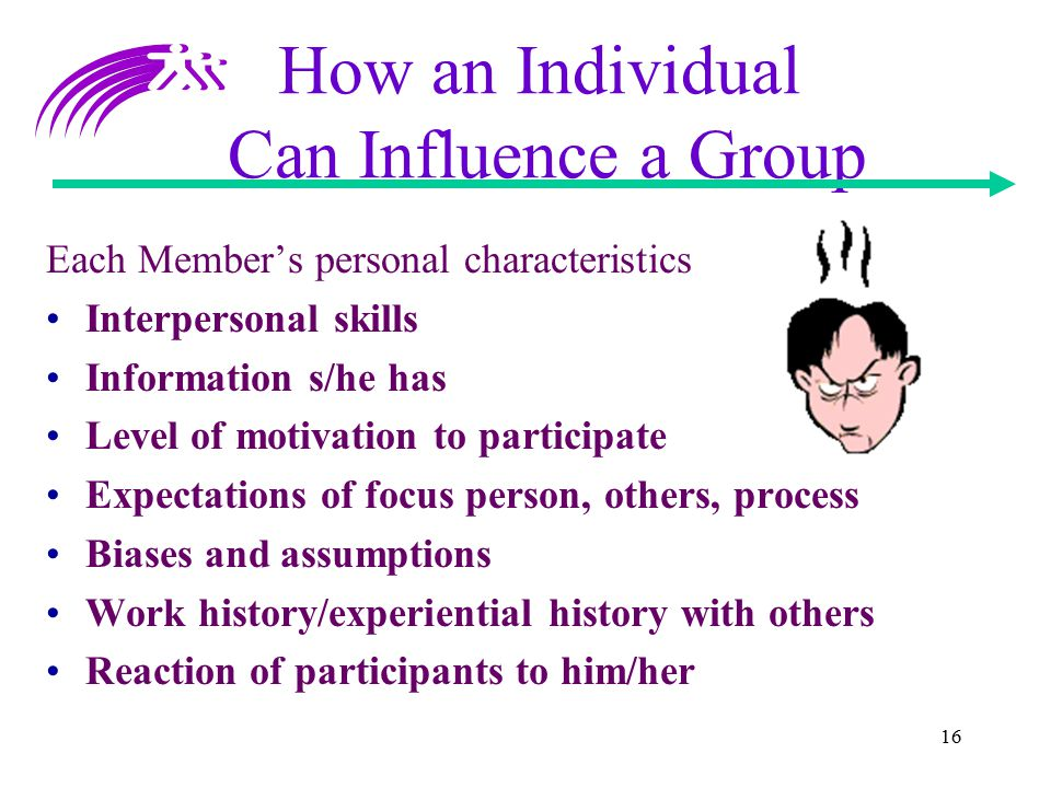 16 How an Individual Can Influence a Group Each Member's personal characteristics Interpersonal skills Information s/he has Level of motivation to par