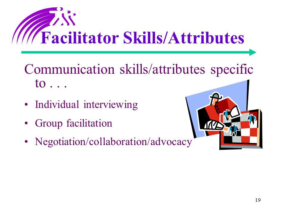 19 Facilitator Skills/Attributes Communication skills/attributes specific to...