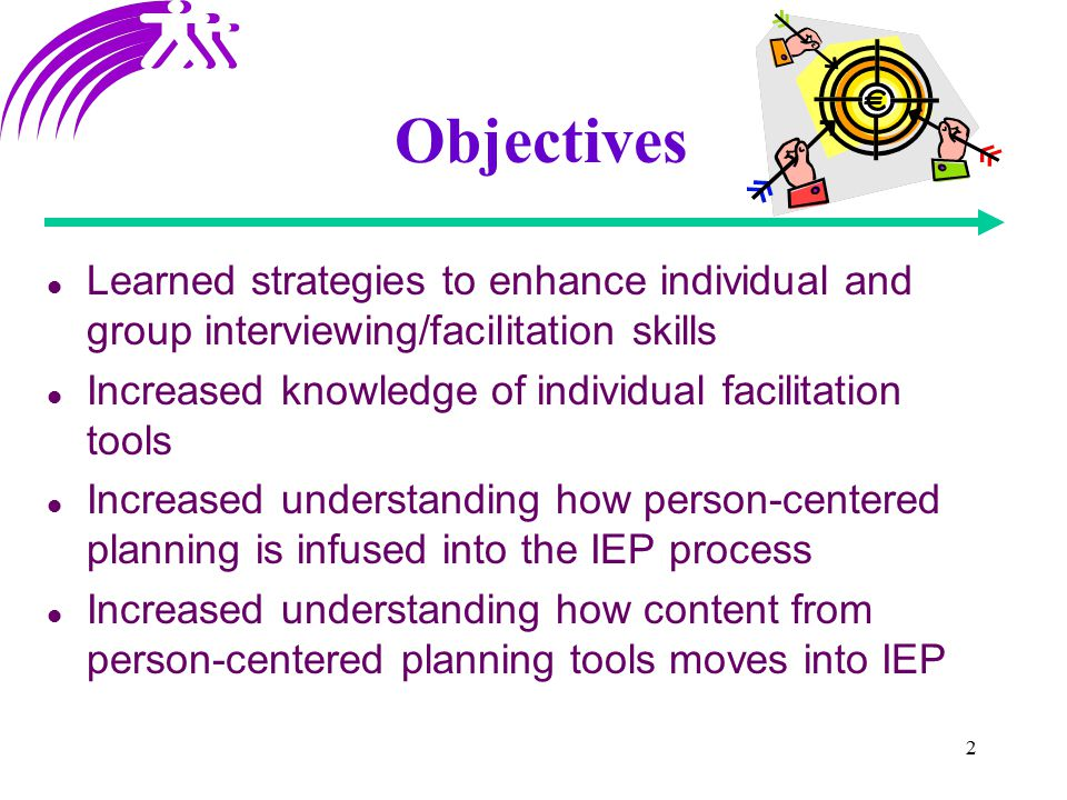 2 Objectives Learned strategies to enhance individual and group interviewing/facilitation skills Increased knowledge of individual facilitation tools