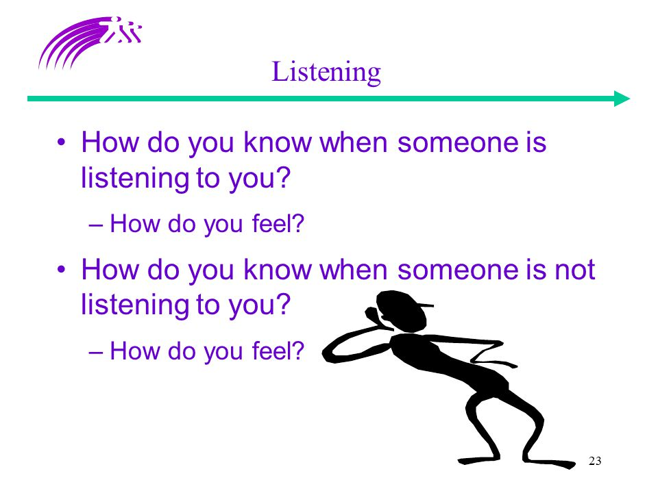 23 How do you know when someone is listening to you? –How do you feel? How do you know when someone is not listening to you? –How do you feel? Listeni