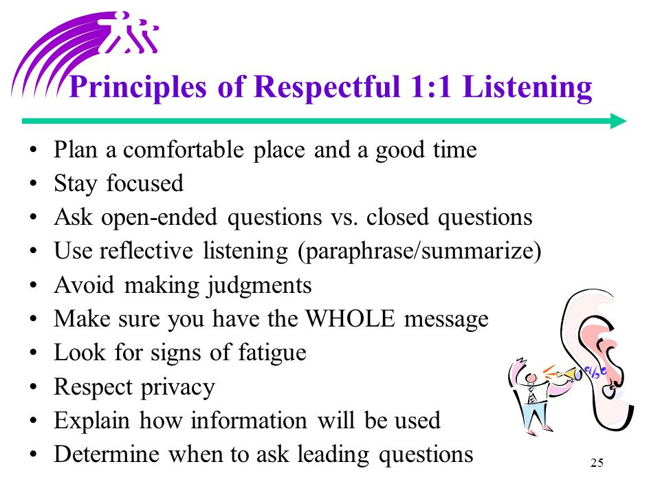 25 Principles of Respectful 1:1 Listening Plan a comfortable place and a good time Stay focused Ask open-ended questions vs. closed questions Use refl