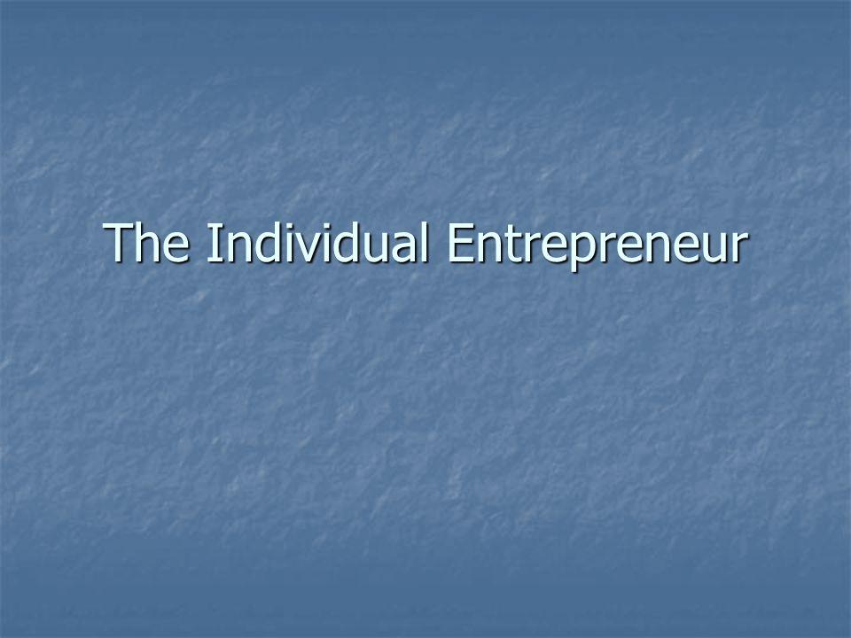 The Individual Entrepreneur