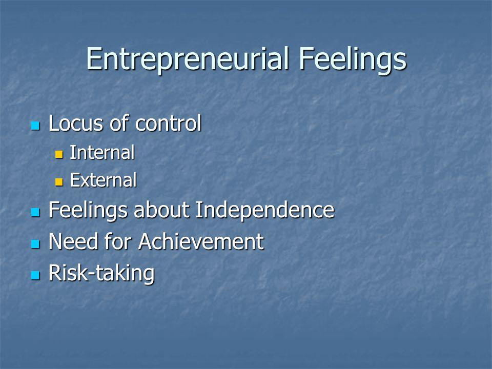 Entrepreneurial Feelings Locus of control Locus of control Internal Internal External External Feelings about Independence Feelings about Independence