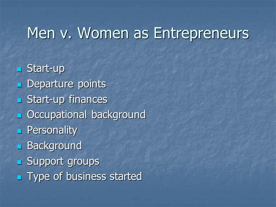 Men v. Women as Entrepreneurs Start-up Start-up Departure points Departure points Start-up finances Start-up finances Occupational background Occupati