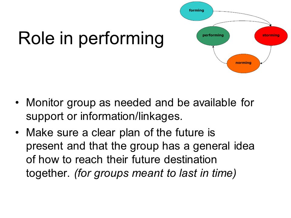 Role in performing Monitor group as needed and be available for support or information/linkages. Make sure a clear plan of the future is present and t