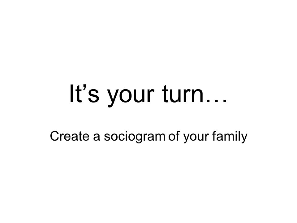 It's your turn… Create a sociogram of your family