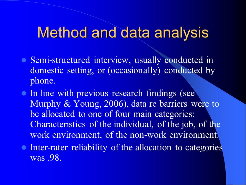 Method and data analysis Semi-structured interview, usually conducted in domestic setting, or (occasionally) conducted by phone.