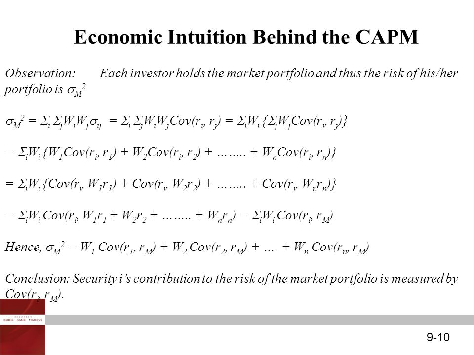 9-10 Economic Intuition Behind the CAPM Observation:Each investor holds the market portfolio and thus the risk of his/her portfolio is  M 2  M 2 = 
