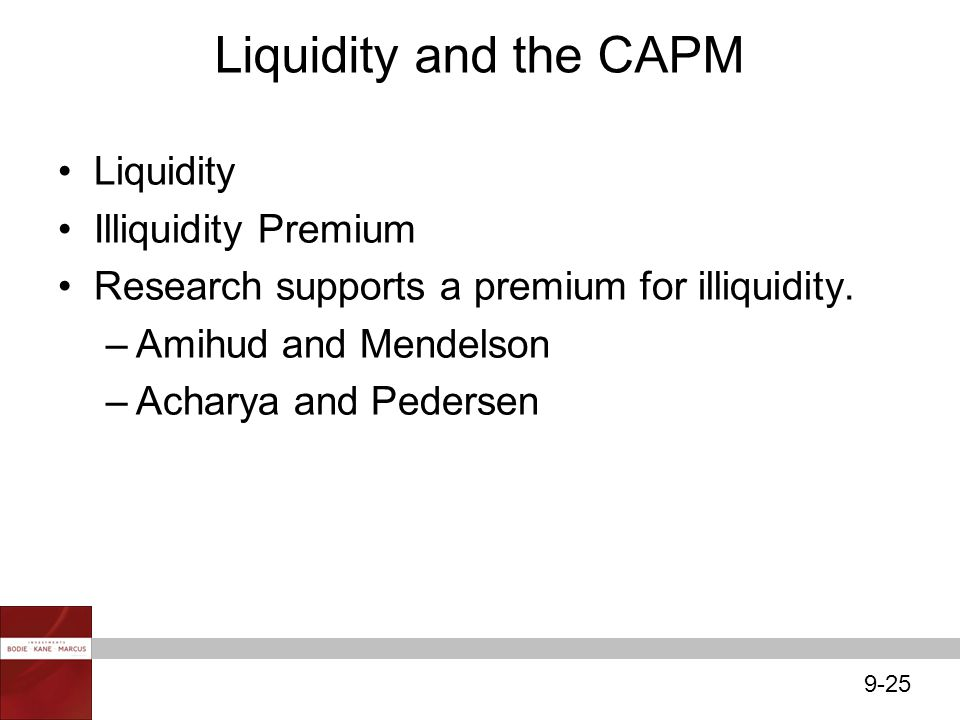 9-25 Liquidity and the CAPM Liquidity Illiquidity Premium Research supports a premium for illiquidity. –Amihud and Mendelson –Acharya and Pedersen
