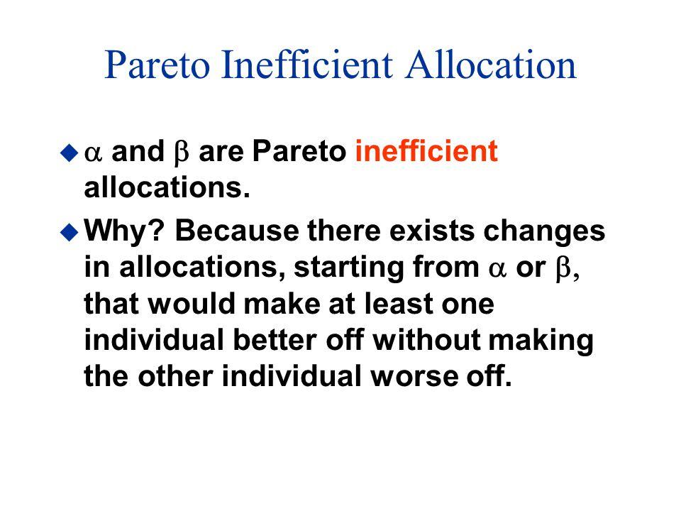 Pareto Inefficient Allocation   and  are Pareto inefficient allocations.