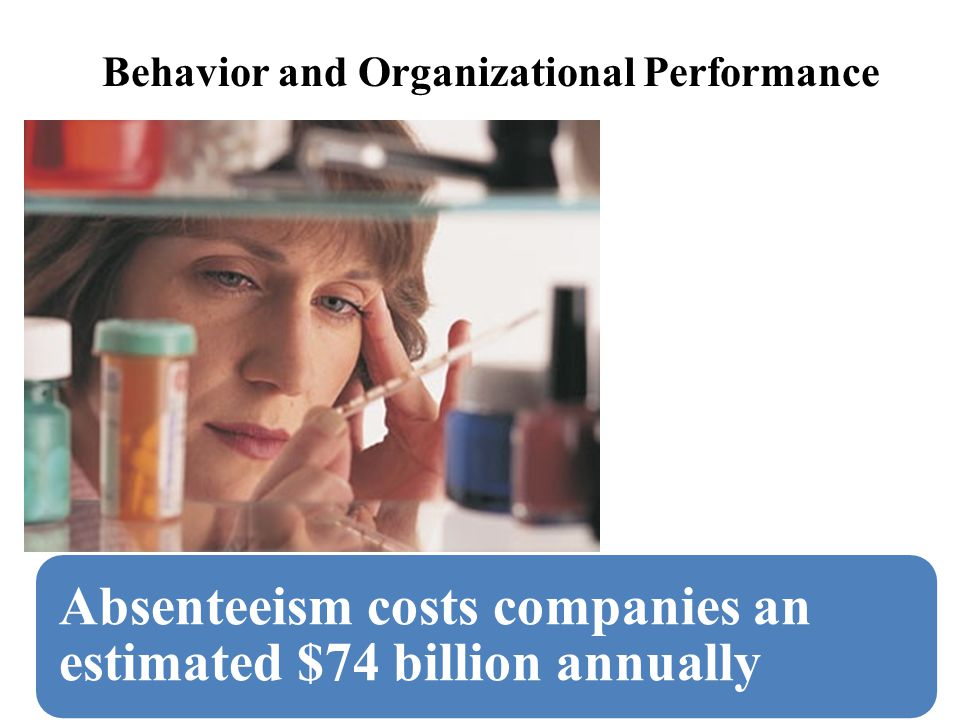 Absenteeism costs companies an estimated $74 billion annually Behavior and Organizational Performance