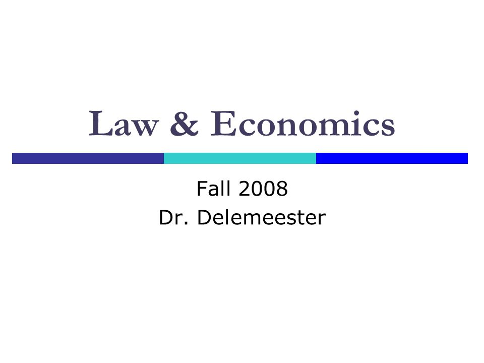 Law & Economics Fall 2008 Dr. Delemeester