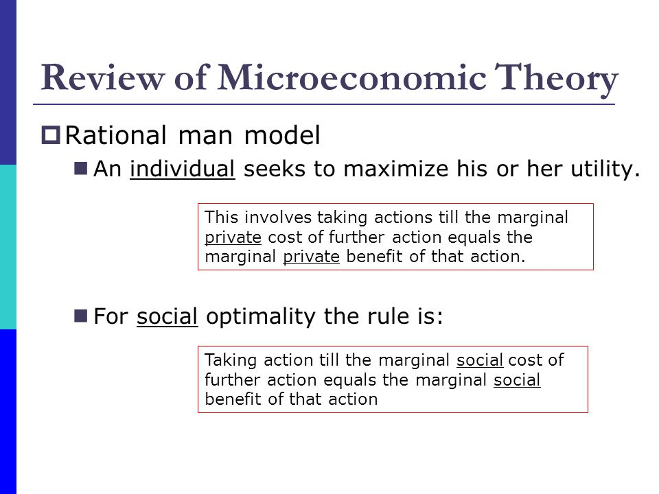 Review of Microeconomic Theory  Rational man model An individual seeks to maximize his or her utility.