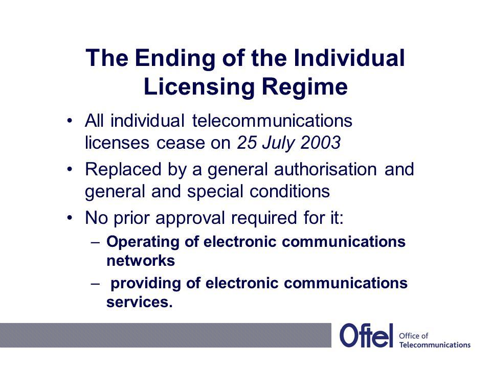The New European Legislation The Framework Directive The Authorisation Directive