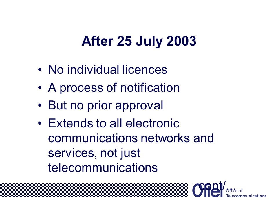 After 25 July 2003 Cont….