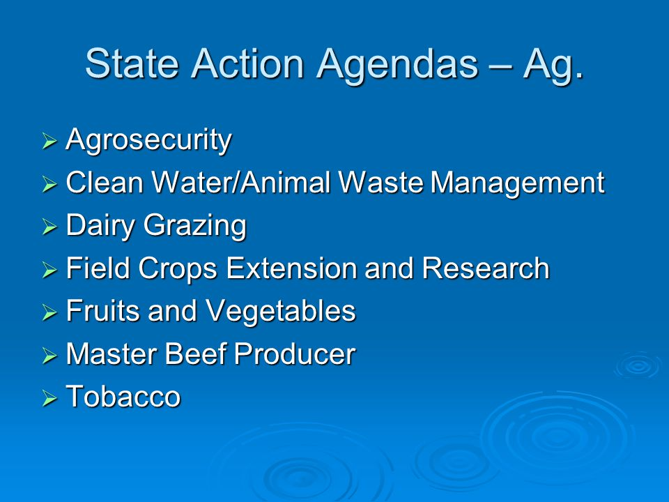 State Action Agendas – Ag.  Agrosecurity  Clean Water/Animal Waste Management  Dairy Grazing  Field Crops Extension and Research  Fruits and Vege