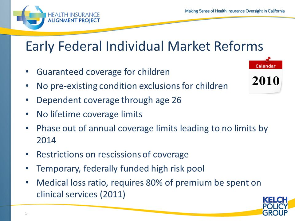 Early Federal Individual Market Reforms Guaranteed coverage for children No pre-existing condition exclusions for children Dependent coverage through age 26 No lifetime coverage limits Phase out of annual coverage limits leading to no limits by 2014 Restrictions on rescissions of coverage Temporary, federally funded high risk pool Medical loss ratio, requires 80% of premium be spent on clinical services (2011) 5