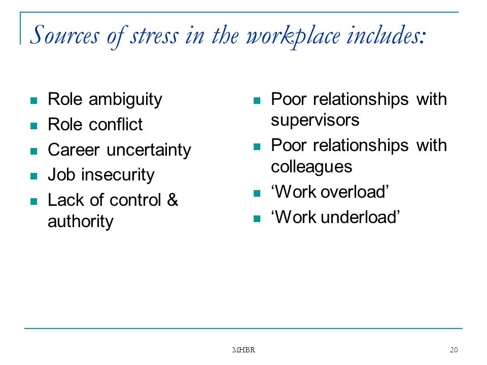 MHBR 20 Sources of stress in the workplace includes: Role ambiguity Role conflict Career uncertainty Job insecurity Lack of control & authority Poor r