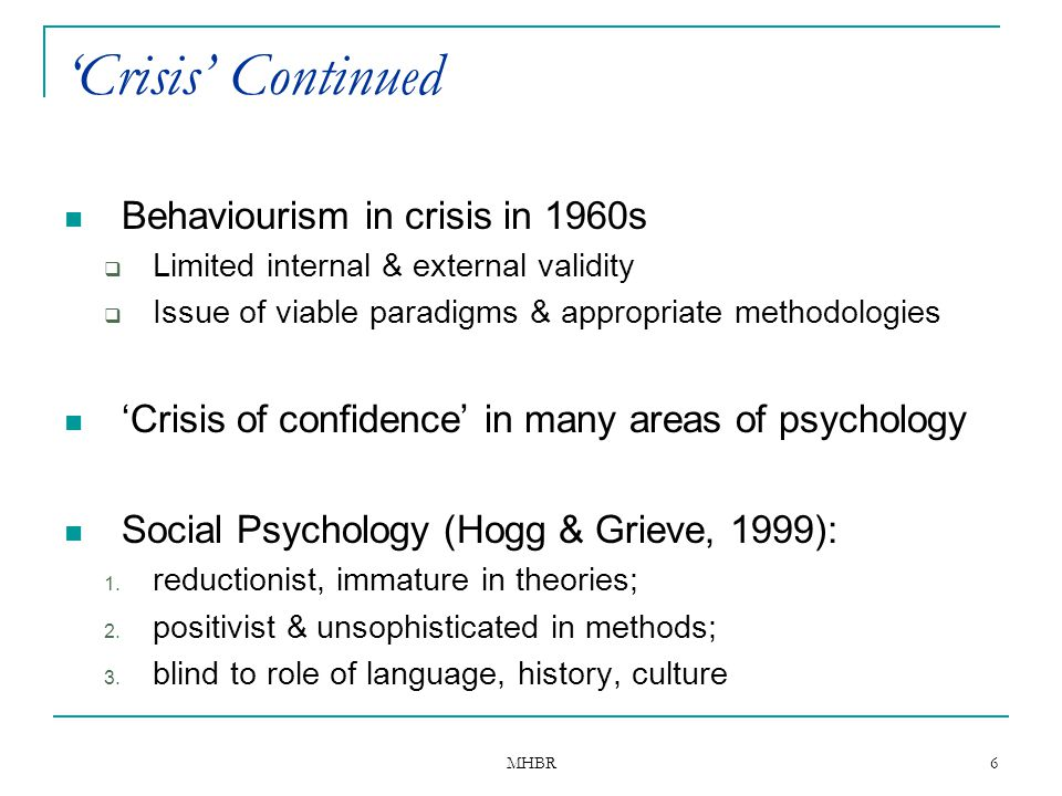MHBR 6 'Crisis' Continued Behaviourism in crisis in 1960s  Limited internal & external validity  Issue of viable paradigms & appropriate methodologi