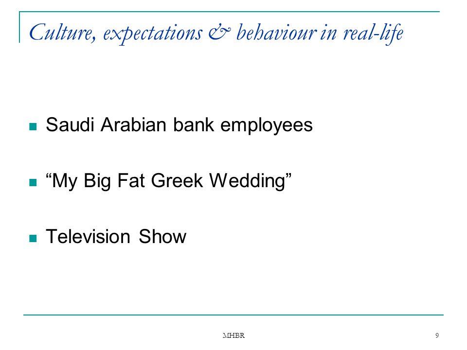 "MHBR 9 Culture, expectations & behaviour in real-life Saudi Arabian bank employees ""My Big Fat Greek Wedding"" Television Show"
