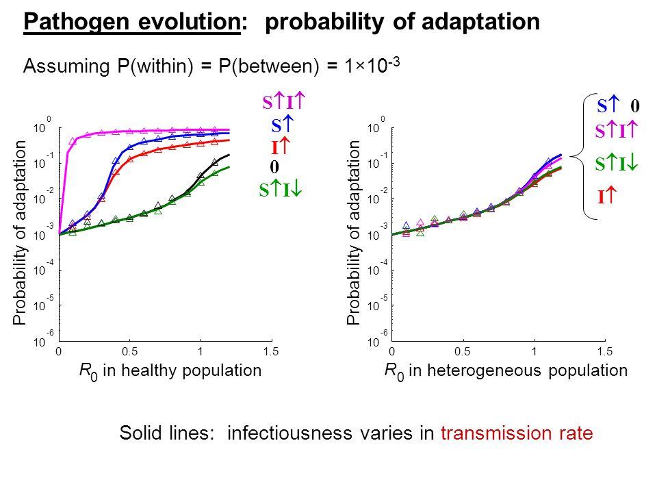 00.511.5 10 -6 10 -5 10 -4 10 -3 10 -2 10 10 0 R 0 in healthy population Probability of adaptation 00.511.5 10 -6 10 -5 10 -4 10 -3 10 -2 10 10 0 R 0