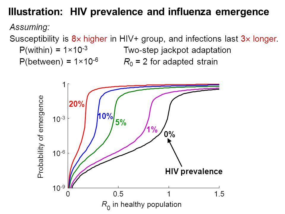 Illustration: HIV prevalence and influenza emergence 0% 00.511.5 10 -9 10 -6 10 -3 1 R 0 in healthy population Probability of emergence HIV prevalence