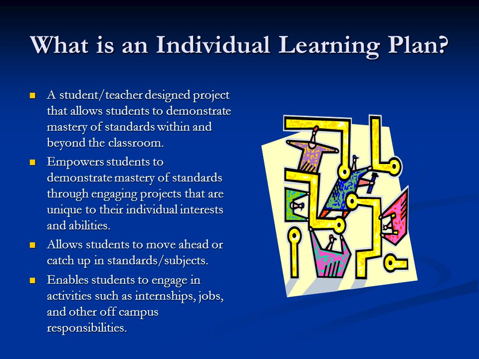 What is an Individual Learning Plan? A student/teacher designed project that allows students to demonstrate mastery of standards within and beyond the